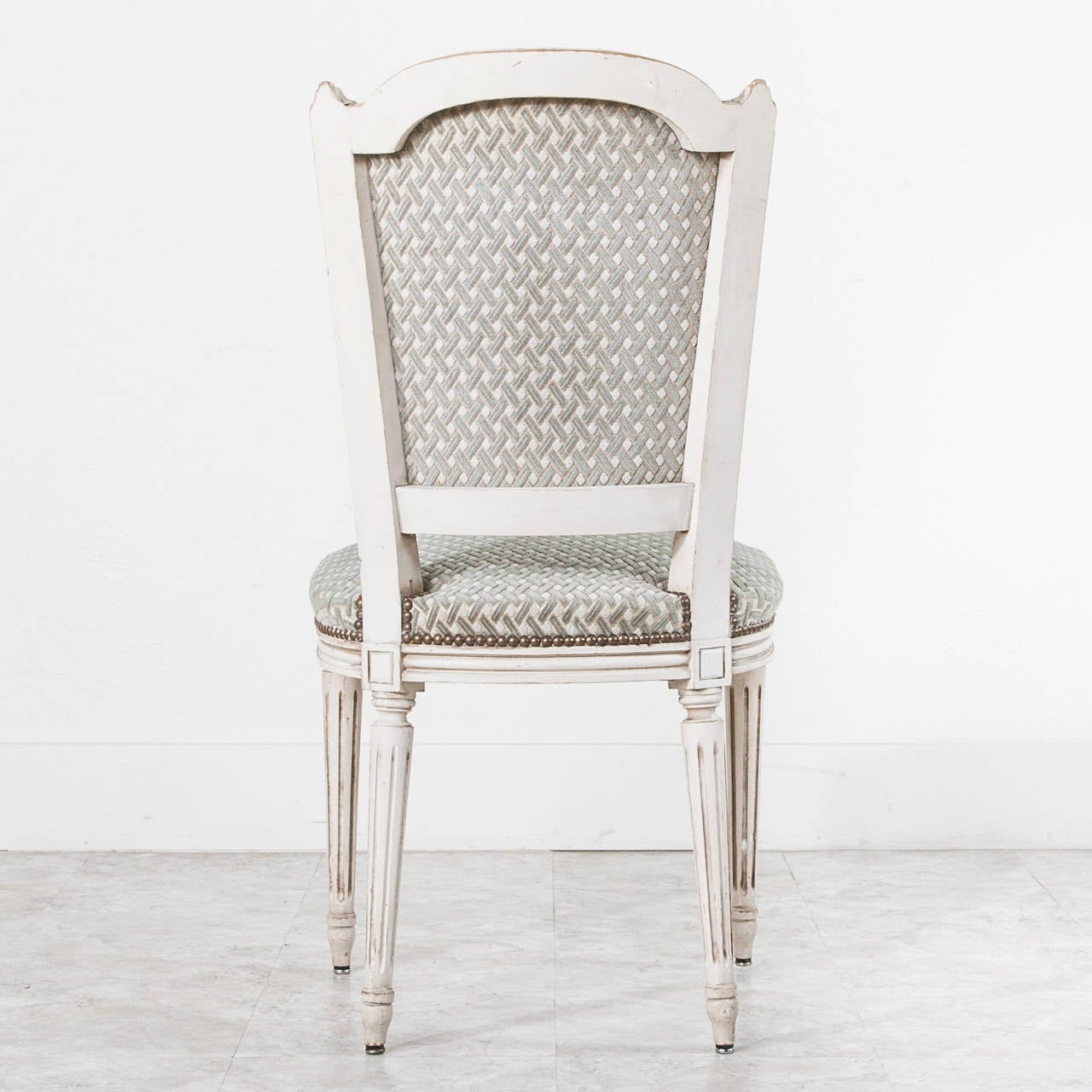 French Set Of Six Jansen Louis XVI Style Dining Chairs In White With  Nailhead Trim For