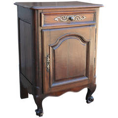 18th Century French Jam Cabinet of Solid Hand-Carved Oak with Iron Hardware