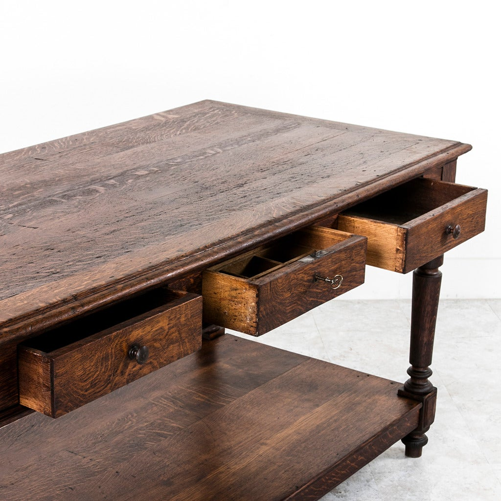 Large Antique French Solid Oak Silk Trader's Table or Kitchen ...