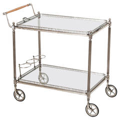 Mid-Century Jansen Bar Cart in Steel with Wood Handle and Removable Tray