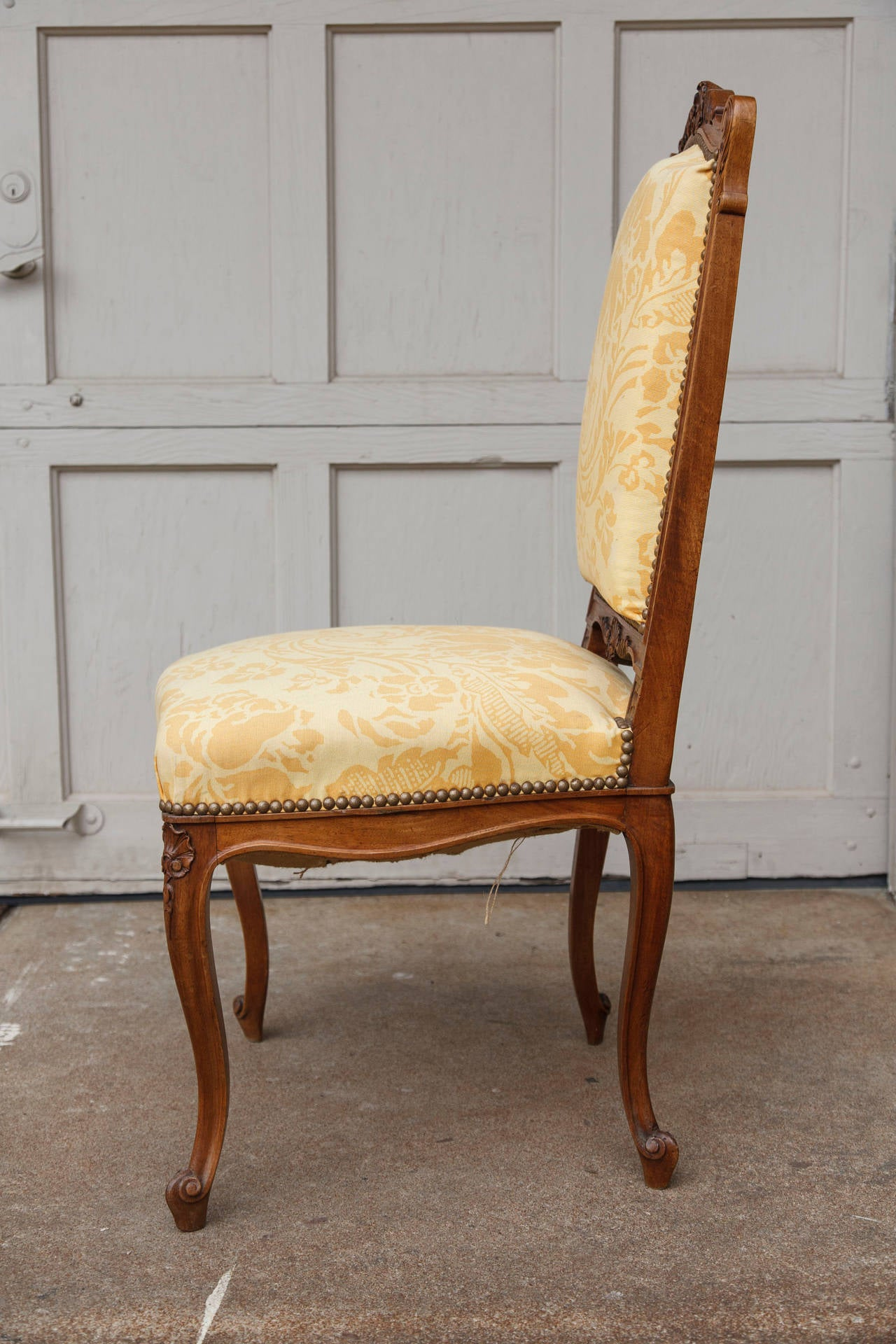 Pair of french regency style side chairs with new