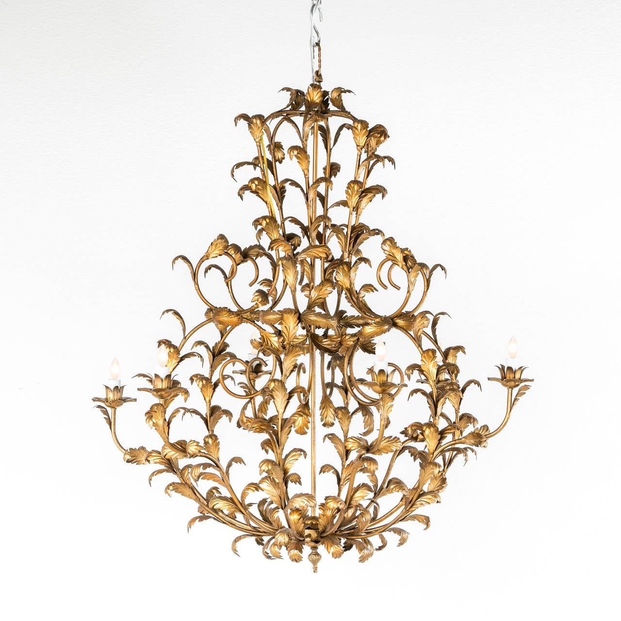 Grand Scale Two Tiered Gilt Tole Italian Chandelier with
