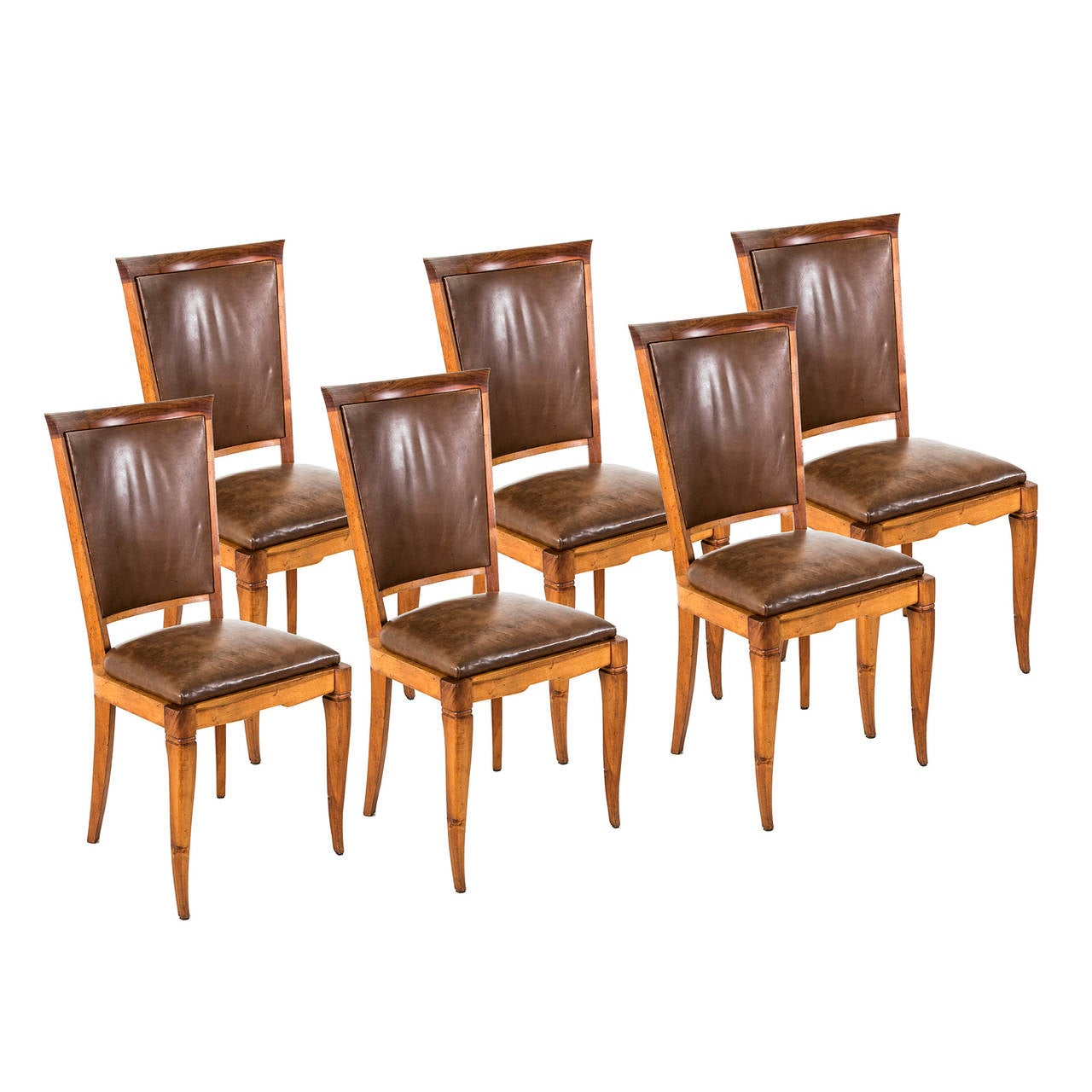 Set Of Six Art Deco Period French Dining Chairs With Leather Upholstery 1