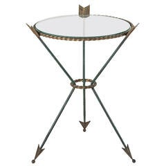 Mid Century French Directoire Style Glass Iron Side Table Gueridon