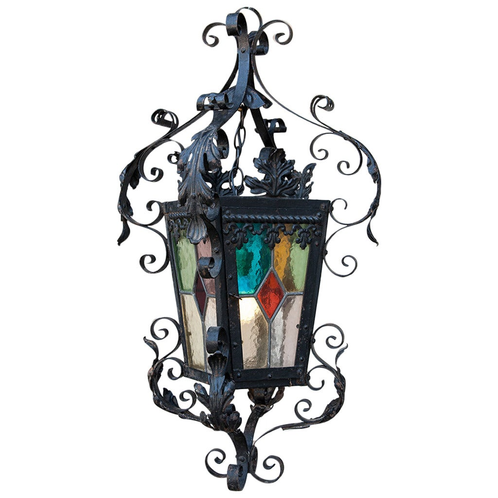 Hand Forged Iron And Stained Glass Pendant Lantern At 1stdibs