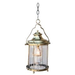 French 18th Century Brass Lantern Hanging Pendant With Hand Blown Circular Glass
