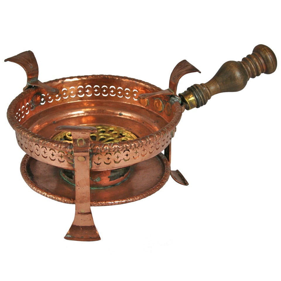 18th Century French Copper and Brass Braisier or Serving Piece