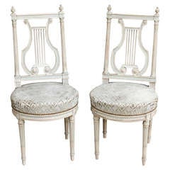Pair of 19th Century Hand Painted and Caved Louis XVI Lyre Back Chairs