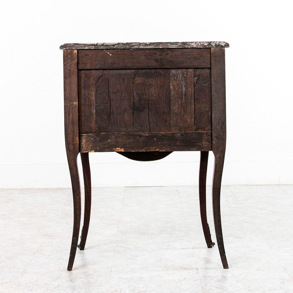 18th Century and Earlier 18th Century French Louis XV Parquetry Marble-Top Commode or Chest For Sale