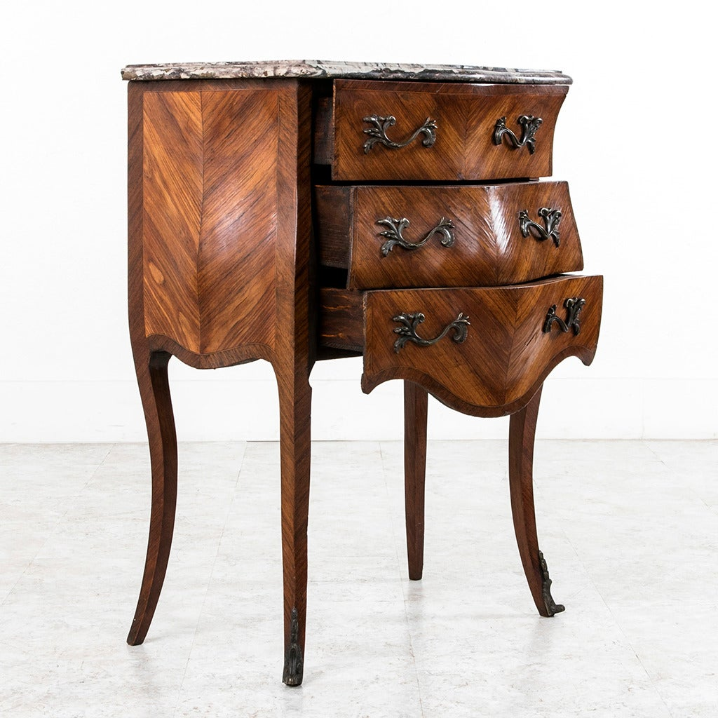 18th Century French Louis XV Parquetry Marble-Top Commode or Chest For Sale 1