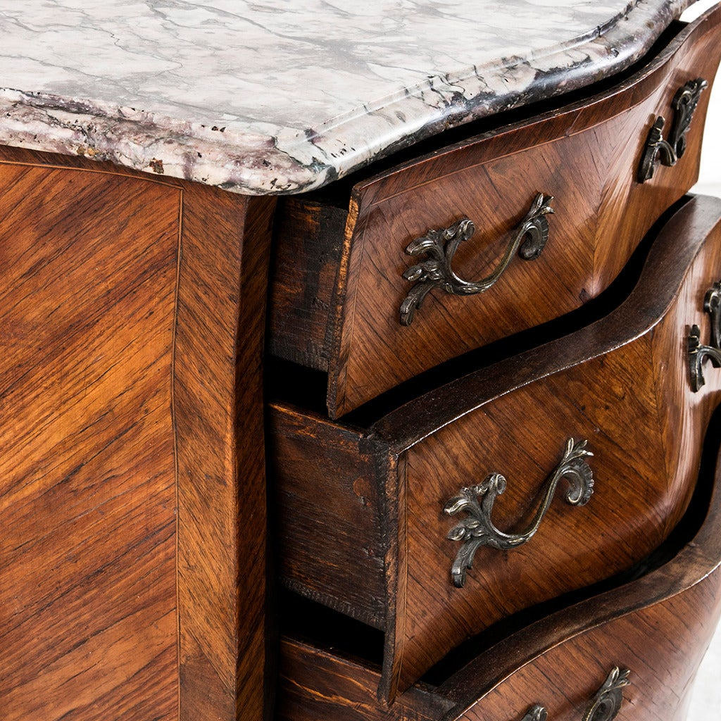 18th Century French Louis XV Parquetry Marble-Top Commode or Chest For Sale 3