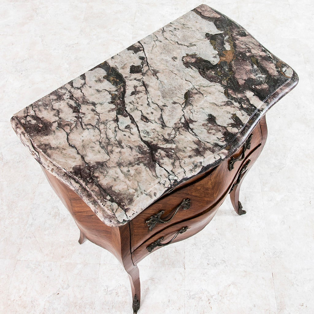 18th Century French Louis XV Parquetry Marble-Top Commode or Chest For Sale 2