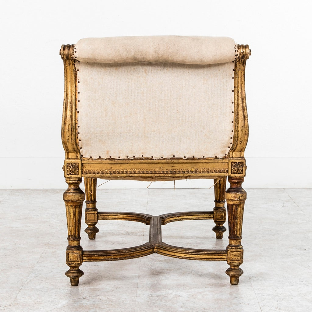 louis xvi style giltwood bench or banquette with linen upholstery circa 1860 for sale at 1stdibs. Black Bedroom Furniture Sets. Home Design Ideas