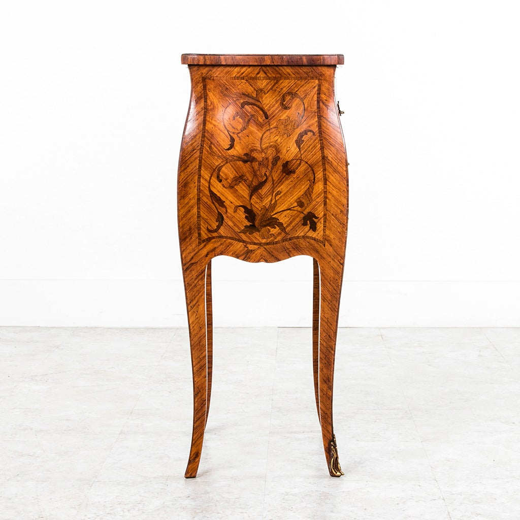 Exquisite Petite Bombe Marquetry Nightstand Chest with Bronze Hardware at 1stdibs