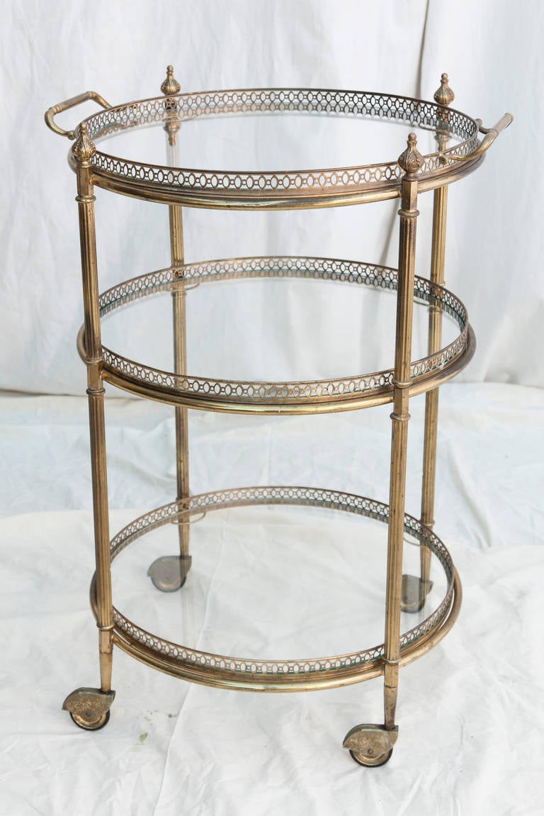 mid century brass bar cart with three glass shelves at 1stdibs. Black Bedroom Furniture Sets. Home Design Ideas