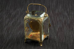 Bronze and Beveled Glass Porte-Montre or Pocket Watch Display Case