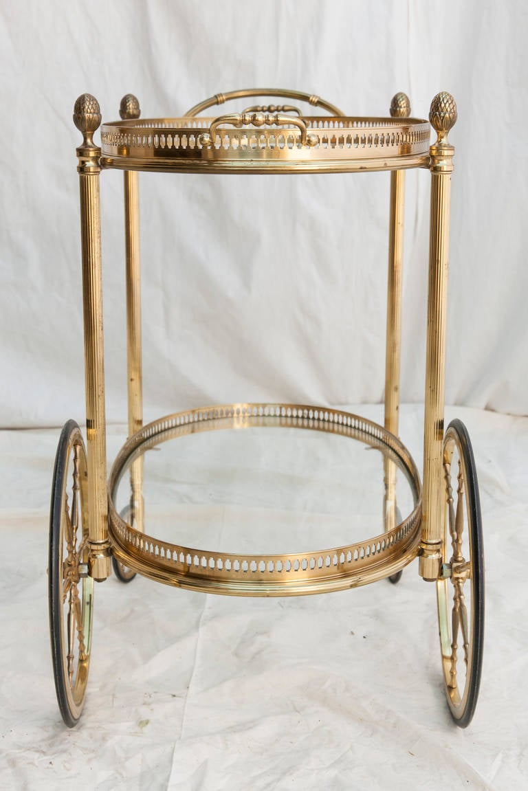 Mid-Century French Bar Cart with Removable Tray In Excellent Condition In Fayetteville, AR