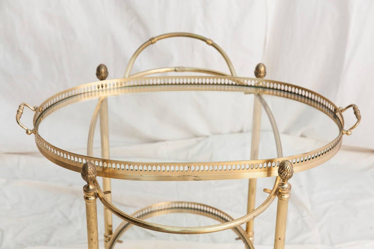 Brass Mid-Century French Bar Cart with Removable Tray