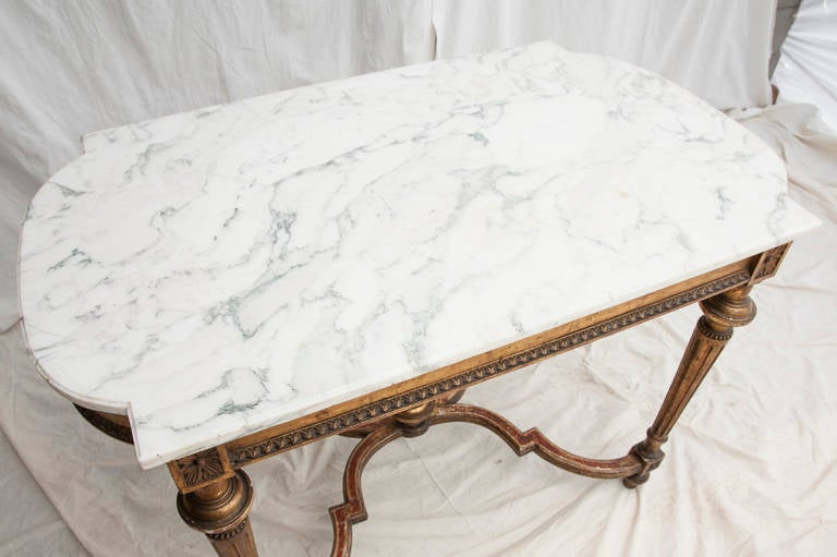 Foyer Table With Marble Top : Louis xvi style giltwood foyer table with marble top at