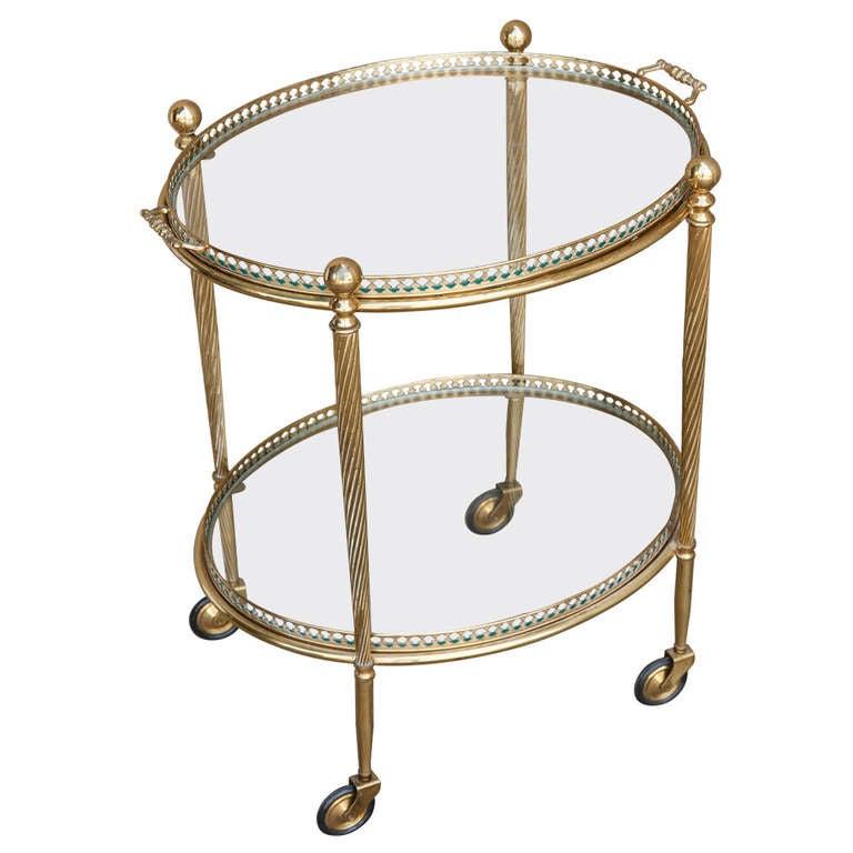 French Art Deco Brass Bar Cart At 1stdibs