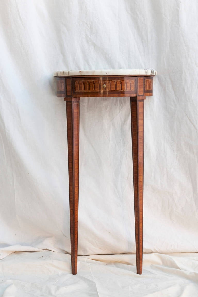 Small scale louis xvi style marquetry console table with marble small scale louis xvi style marquetry console table with marble top 2 geotapseo Choice Image