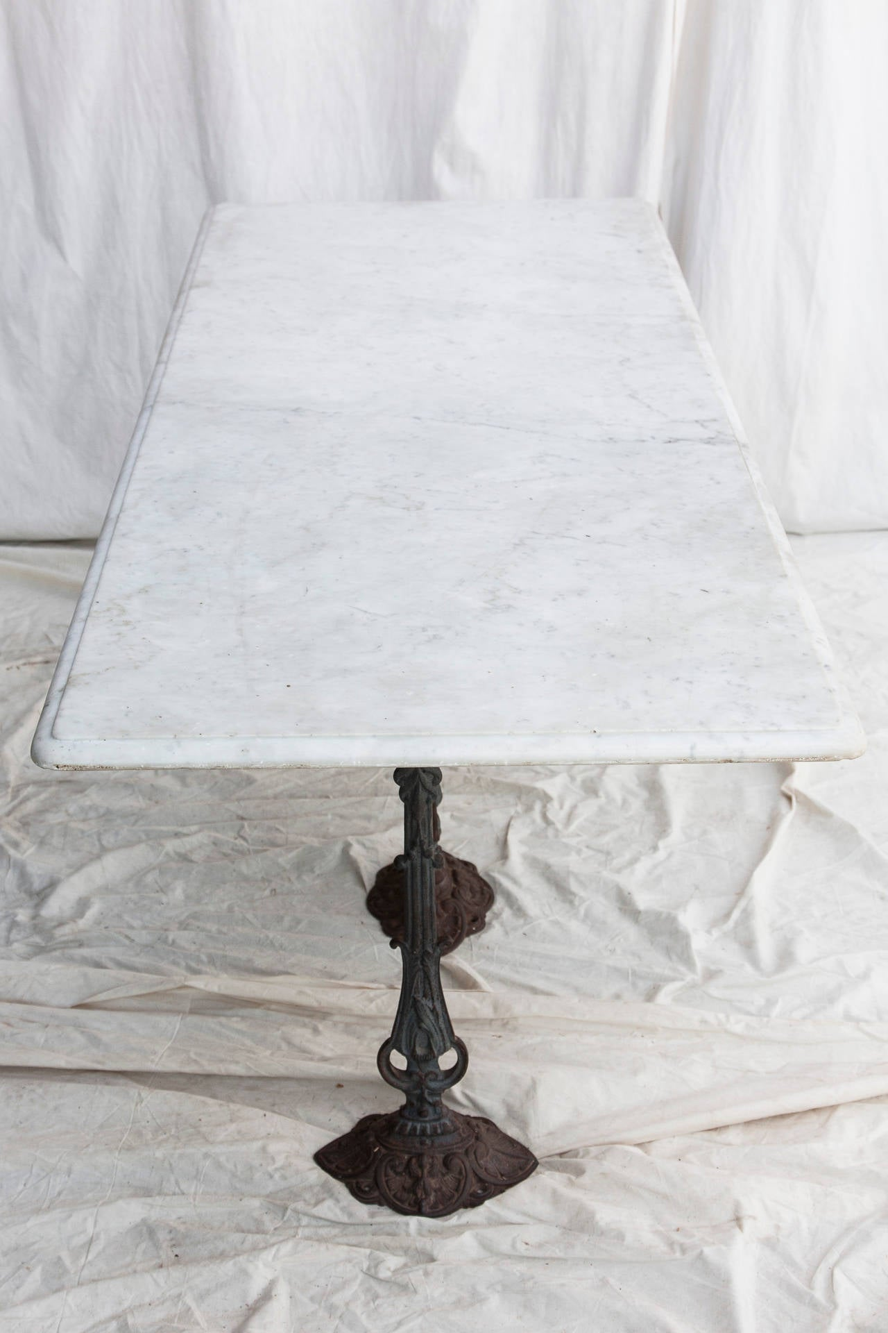 Carrara Marble Top Paris Bistro Table Or Console With Three Cast