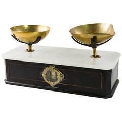 Set of Napoleon III Black Lacquer and Marble Scales with Brass Pans