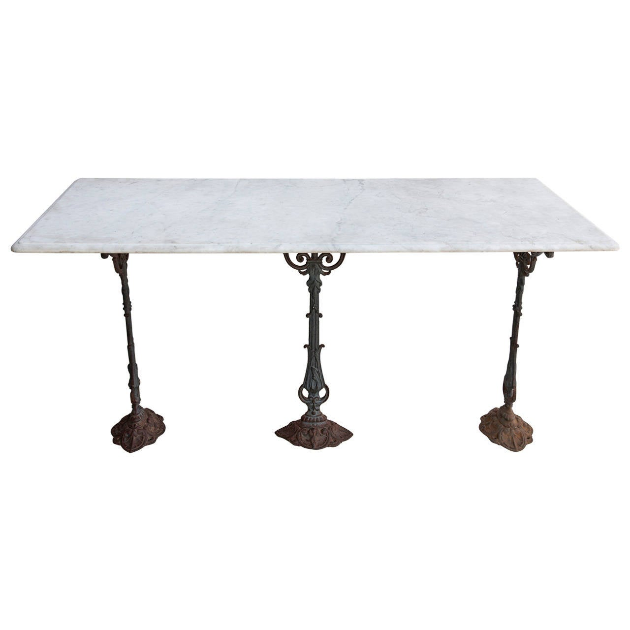 Carrara marble top paris bistro table or console with for Cast iron dining table