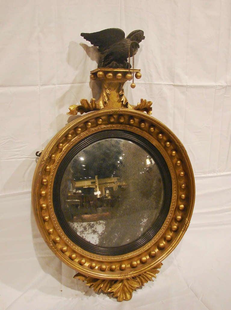 19th Century English Georgian Giltwood Convex Mirror For