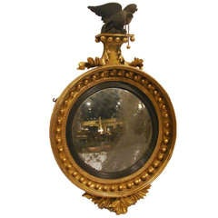 19th Century English Georgian Giltwood Convex Mirror
