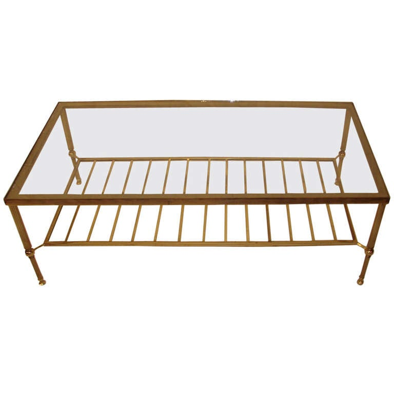 Narrow Rectangular Brass And Marble Coffee Table By Edward: Vintage Brass And Glass Coffee Table At 1stdibs