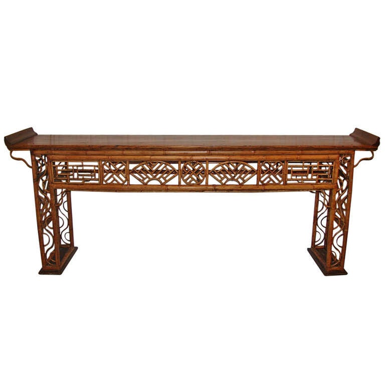 19th c chinese yew and bamboo console table at 1stdibs for Yew sofa table