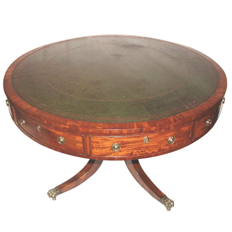 English Georgian Mahogany Drum Table