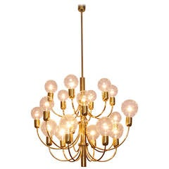 Large 1970s brass chandelier in the manner of Sciolari