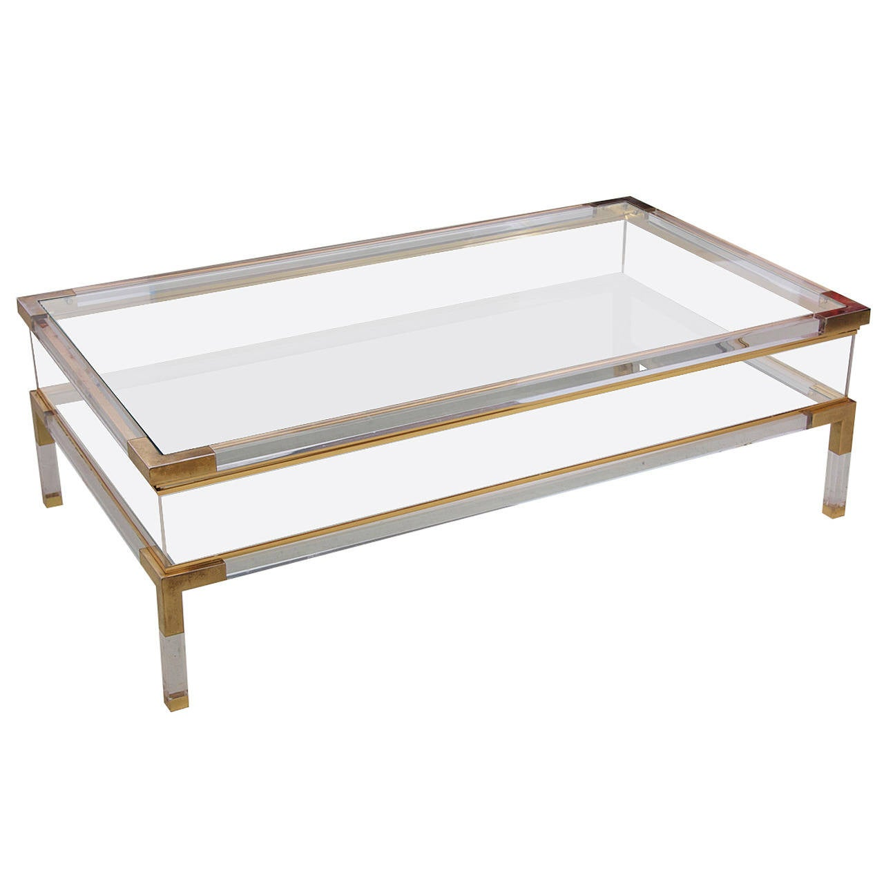 Design Lucite Coffee Table large lucite and brass vitrine coffee table by charles hollis jones 1