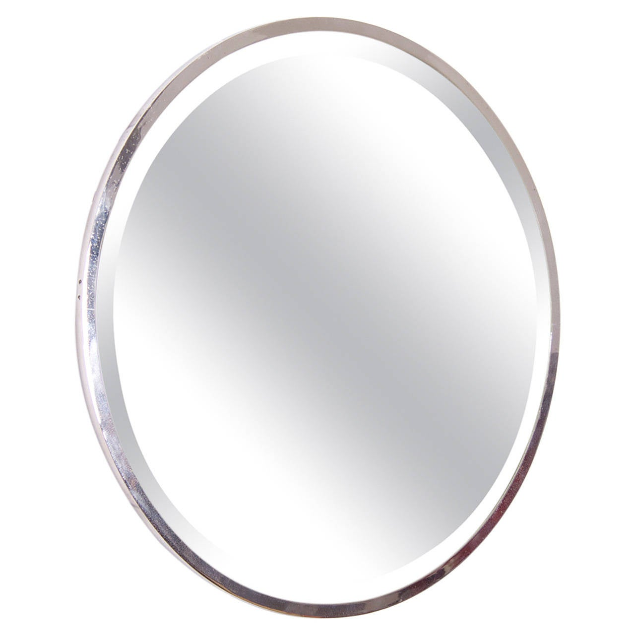 Round nickel plated french art deco wall mirror for sale for Mirrors for sale