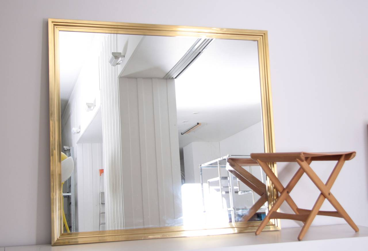 1 of 2 xxl huge brass mirror in the manner of maison. Black Bedroom Furniture Sets. Home Design Ideas