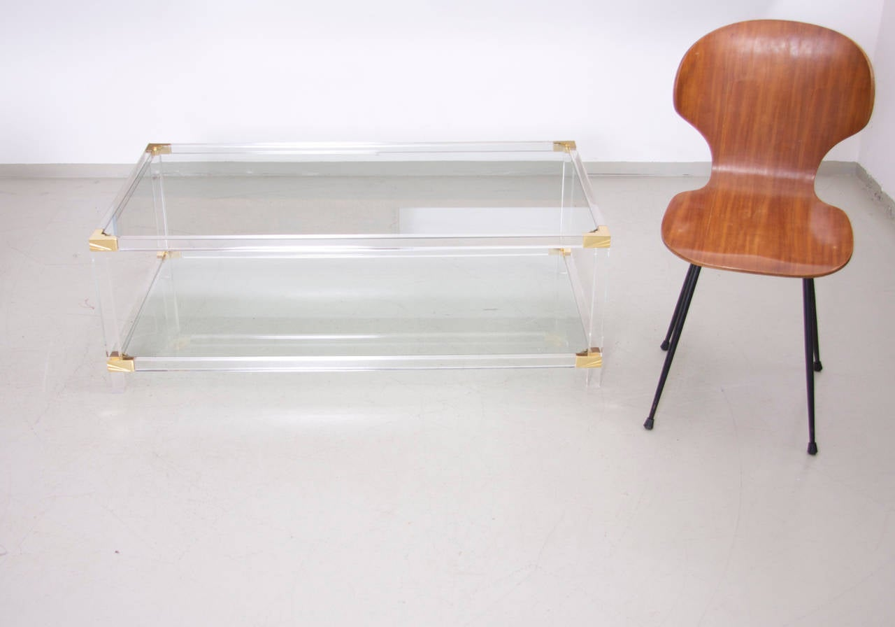Two Tier Lucite And Brass Coffee Table In The Style Of Charles Hollis Jones For Sale At 1stdibs