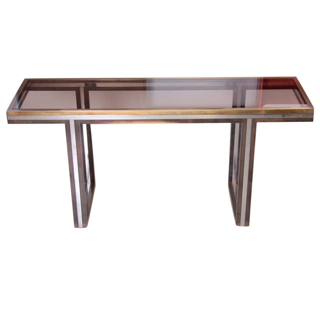 XXL Romeo Rega Brass and Chrome Console Table