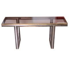 XXL Romeo Rega Brass and Chrome Console Table