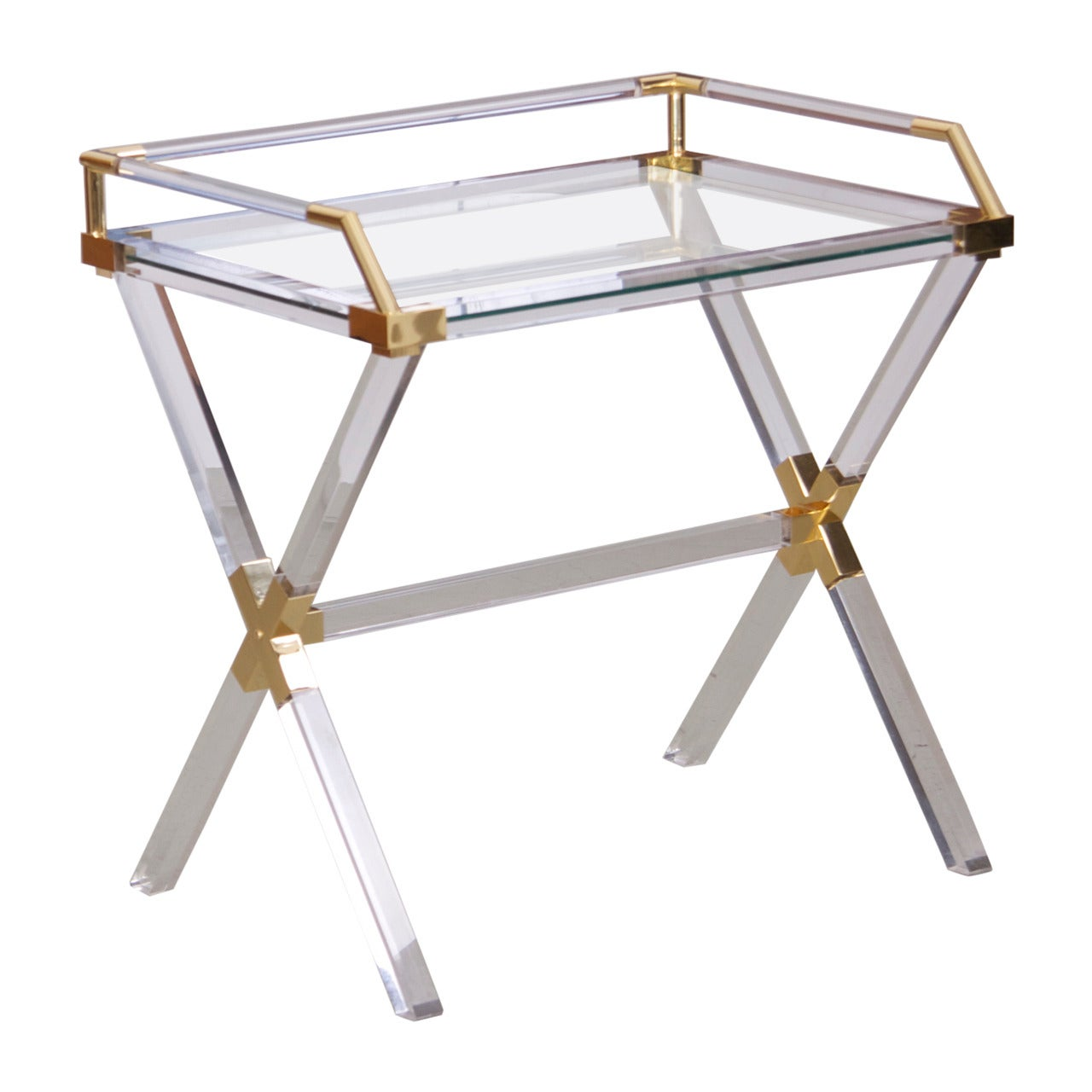 Large Charles Hollis Jones Lucite and Brass Bar Table
