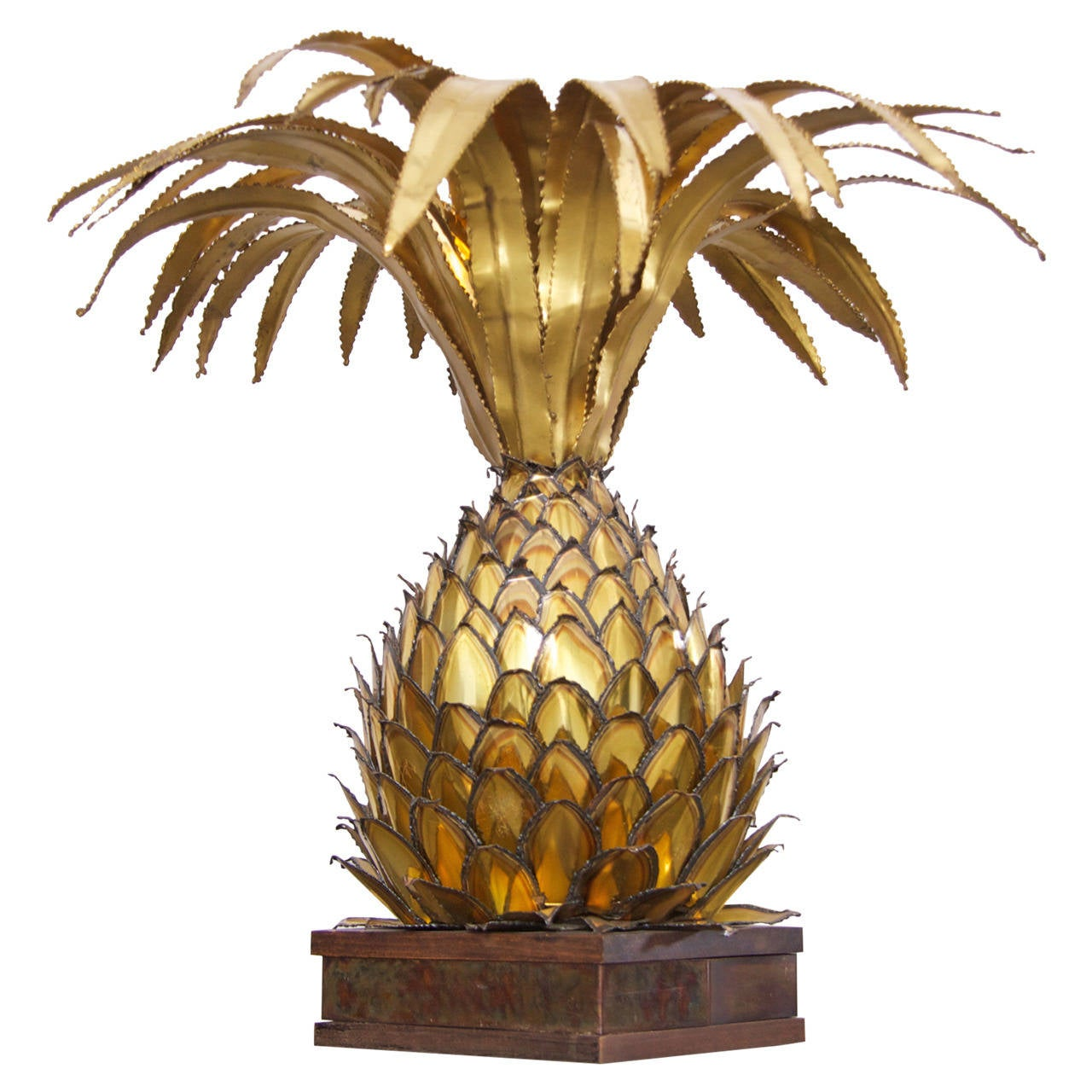 brass pineapple table lamp in palm tree style for sale at 1stdibs. Black Bedroom Furniture Sets. Home Design Ideas
