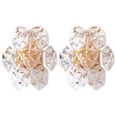 1 of 2 Pair of Crystal Glass Kinkeldey Sconces or Wall Lamps