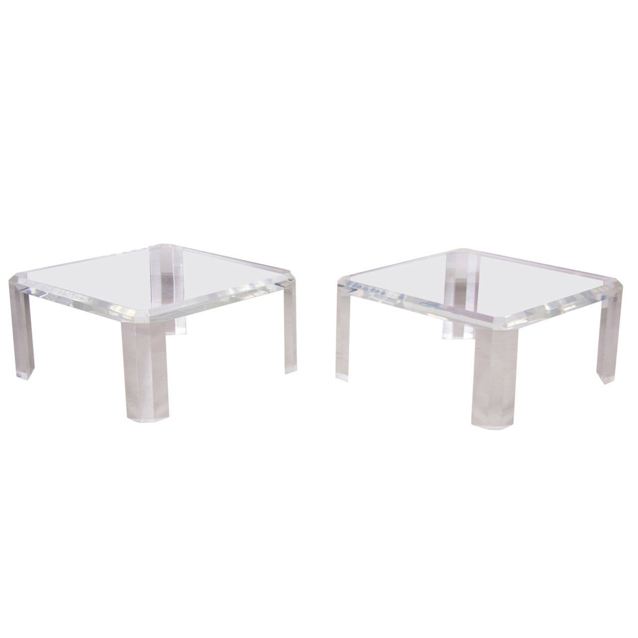 Pair of Charles Hollis Jones Lucite Coffee Tables or Side Tables