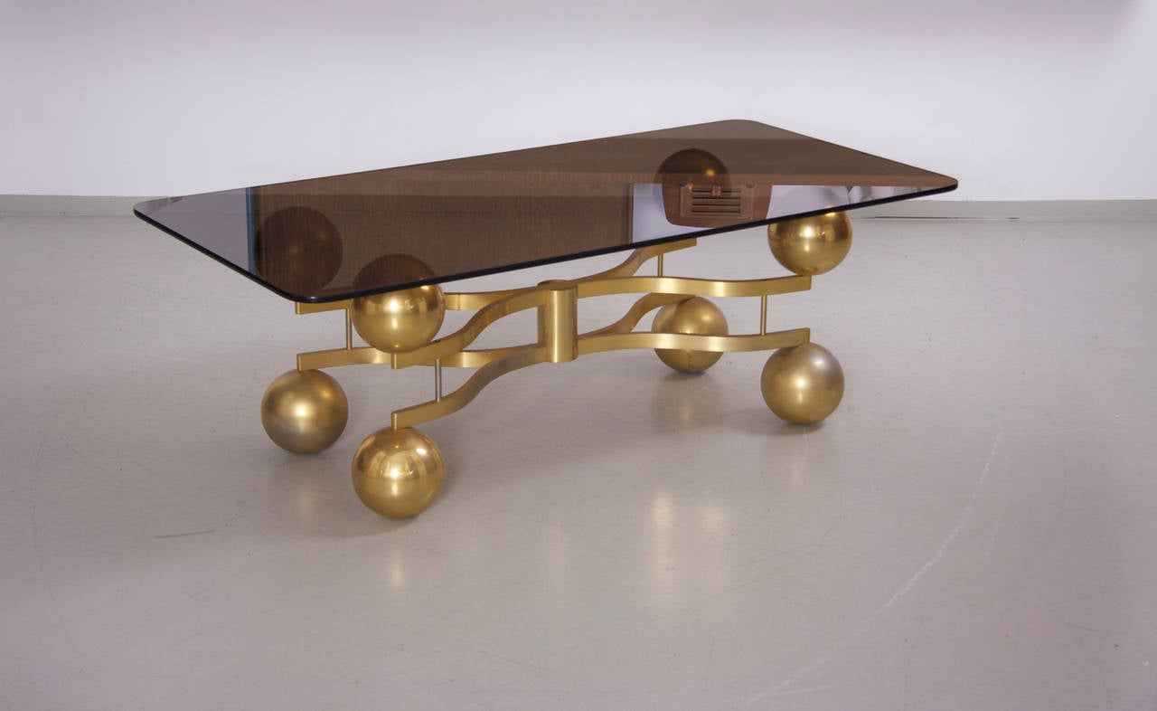 Brass Sputnik Coffee Table With Glass Top At 1stdibs