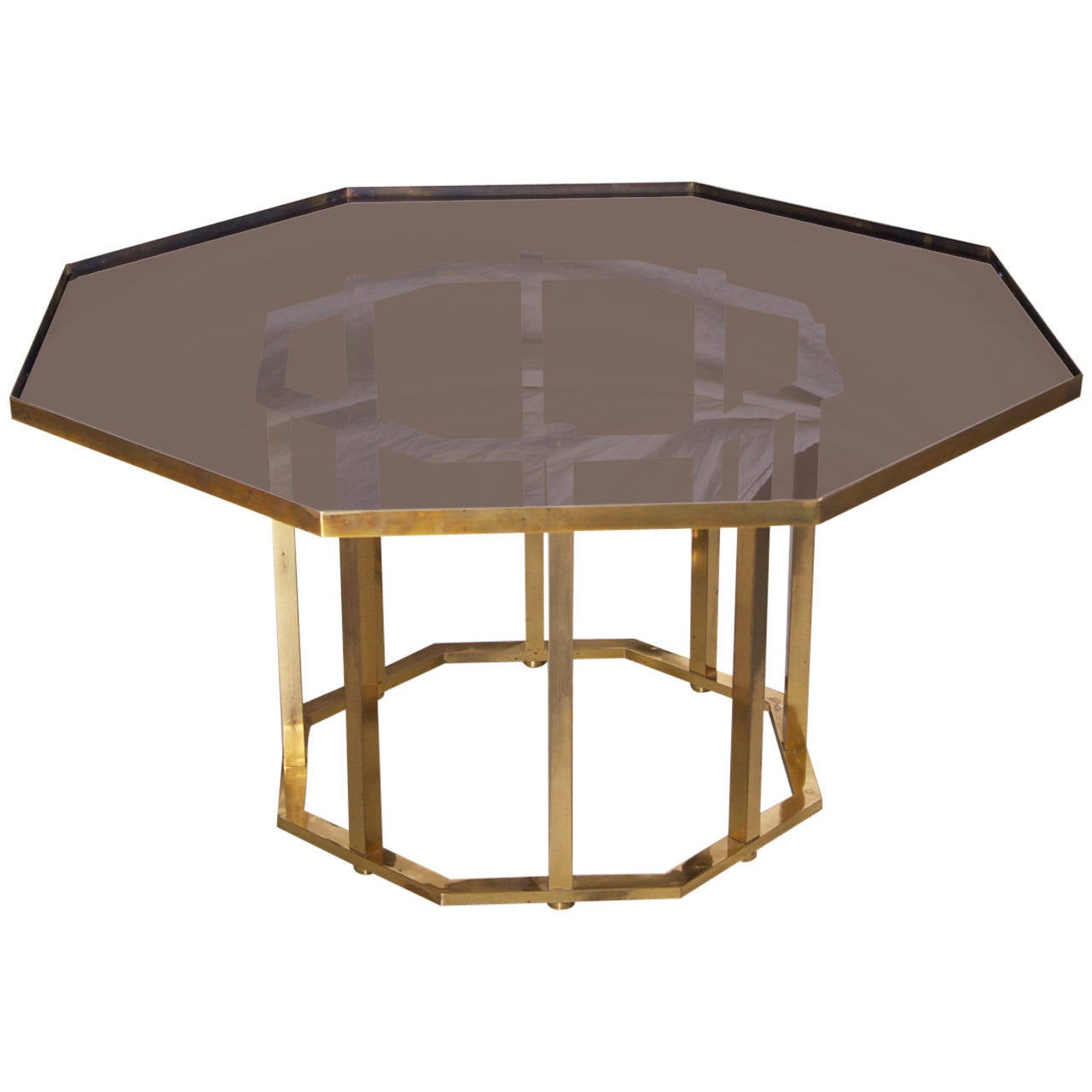 Huge maison jansen octagonal coffee table in massive brass for Octagon coffee table