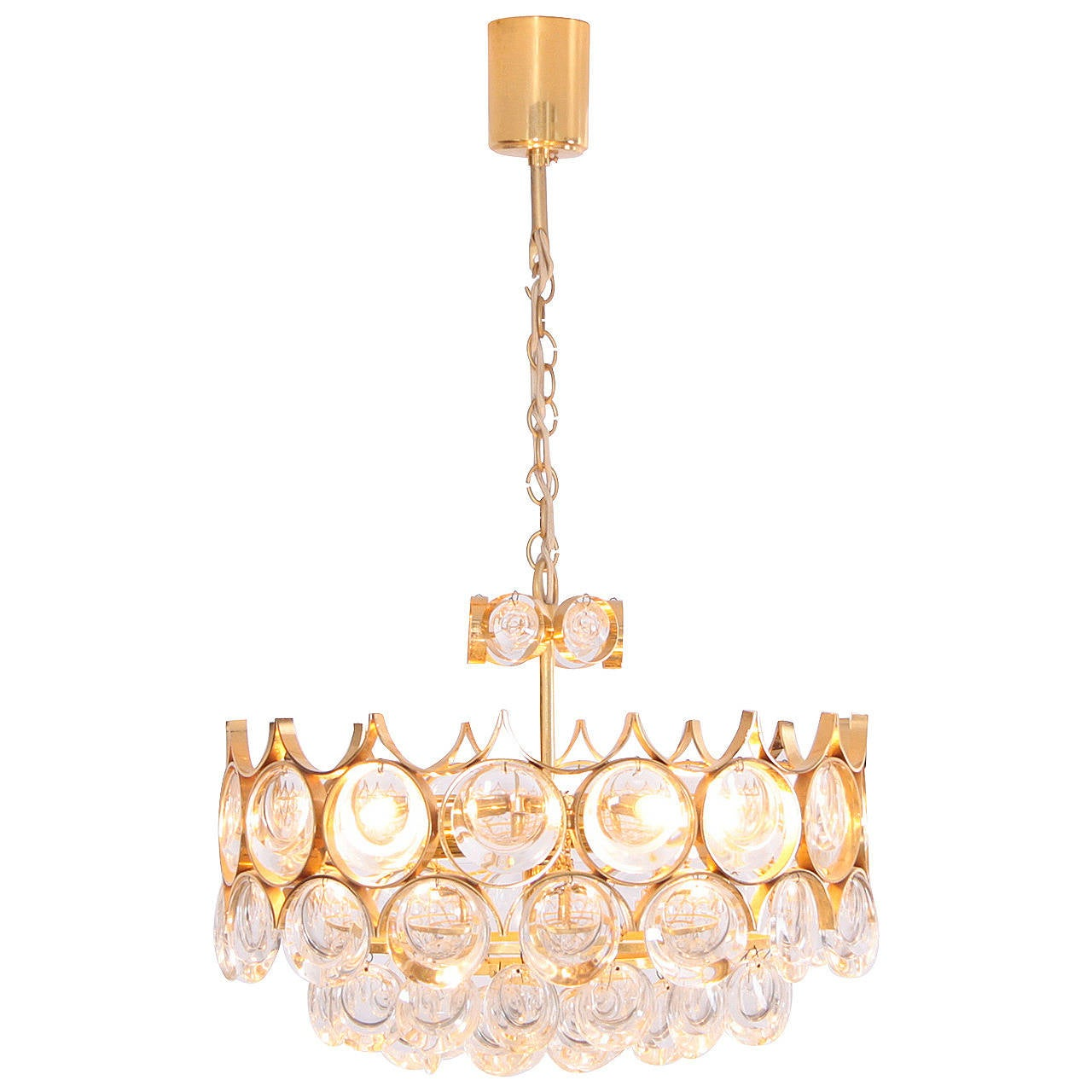 Stunning Gilded Brass and Glass Palwa Chandelier