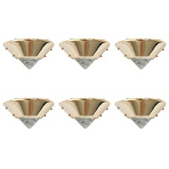 Set of Six Brutalist Style Brass and Murano Glass Sconces or Wall Lamps