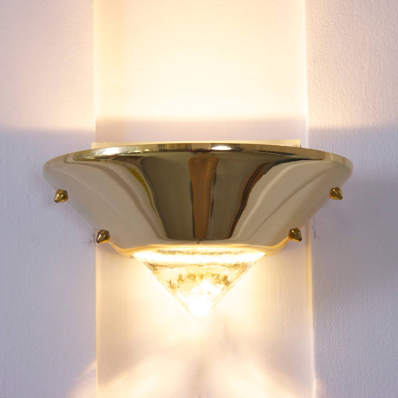 Murano Glass Wall Lamps : Set of Six Brutalist Style Brass and Murano Glass Sconces or Wall Lamps For Sale at 1stdibs