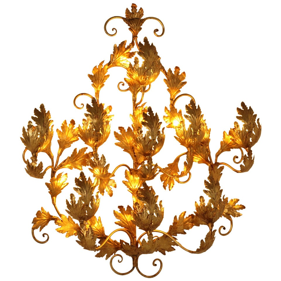 Extra Large 1970s Gold Leaf Wall Applique